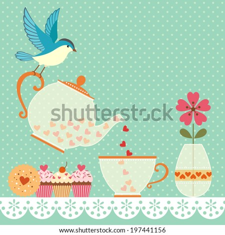Cup of tea with love. Copy space for your text. Vector contains transparent objects.