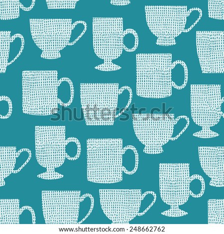 Cup seamless pattern. Vector illustration. - stock vector