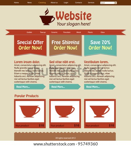 Cup Shop Website Design Template: Front Page - stock vector