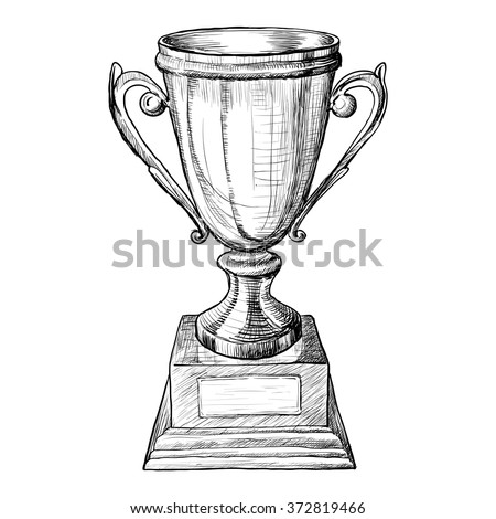 Cup trophy on wooden pedestal black and white sketch. Vector illustraton - stock vector