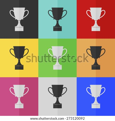 Cup vector icon - colored set. Flat design - stock vector