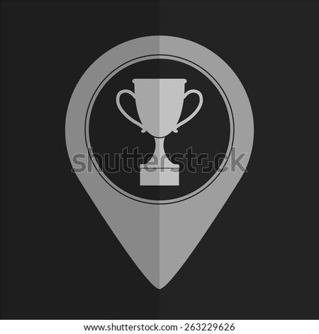 Cup vector icon - map pointer. Flat design - stock vector