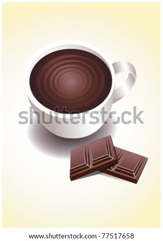 cup with chocolate - stock vector