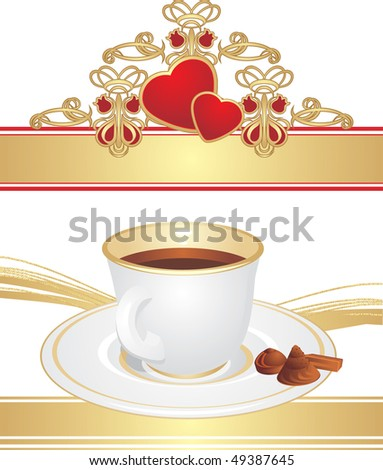 Cup with coffee and candies. Vector - stock vector