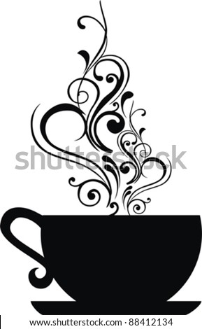 Cup  with floral design elements. Vector illustration. - stock vector
