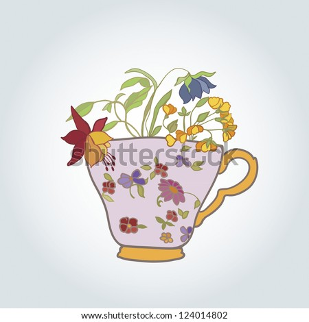 cup with flowers in retro style vector illustration - stock vector