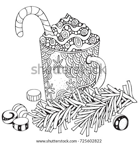 Cup hot coffee adult coloring book stock vector 725602822 for Hot chocolate mug coloring page