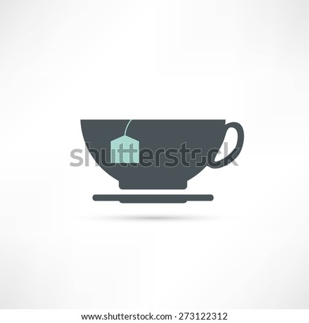 cup with tea bag icon - stock vector