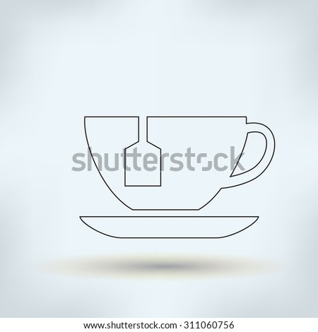 cup with tea vector icon