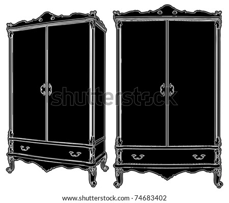 Cupboard Dresser Vector 03