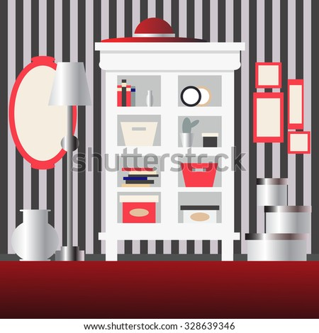 Cupboard, mirror, lamp, vase and boxes in room. Vector illustration - stock vector