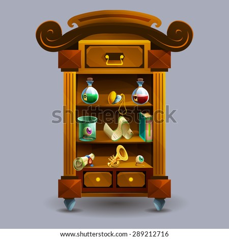 Cupboard with decoration icons for games. Vector illustration.