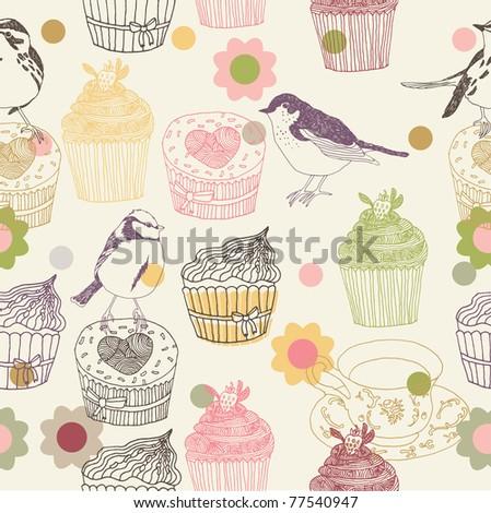 cupcake and birds. seamless pattern design - stock vector