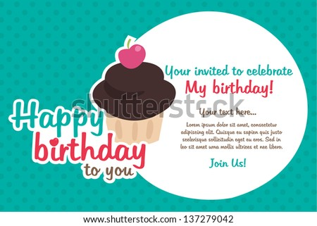 Cupcake Birthday Party - stock vector