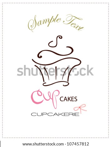 cupcake card - stock vector