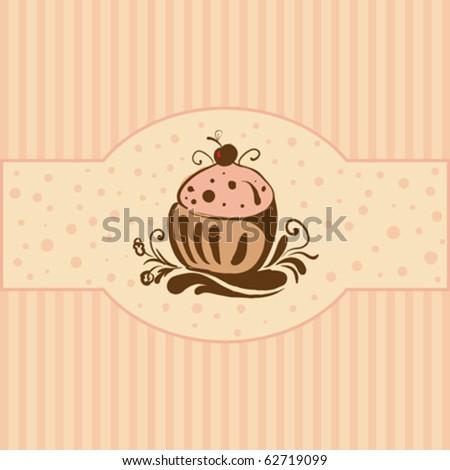 Cupcake - Card template, vector illustration - stock vector