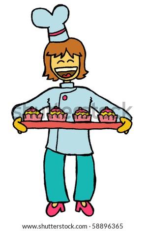 cupcake chef - stock vector
