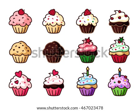 cupcake clipart set colorful cupcakes vector stock vector 467023478 rh shutterstock com cupcake clipart free download cupcake clipart birthday