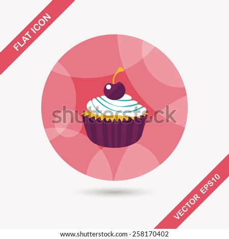 cupcake flat icon with long shadow,eps10 - stock vector