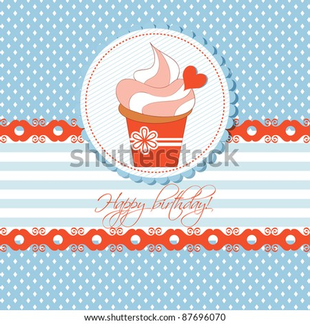 Cupcake greeting card for children - stock vector