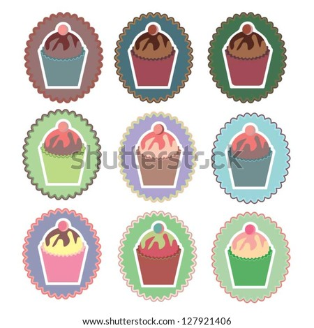 Cupcake Icon Set Vector Illustration - stock vector
