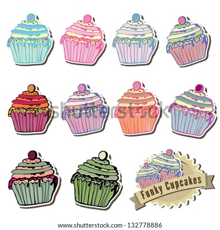 Cupcake Icons Vector illustration - stock vector