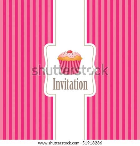 cupcake invitation background 01 - stock vector