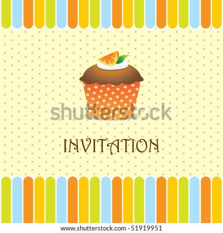 cupcake invitation background 04 - stock vector