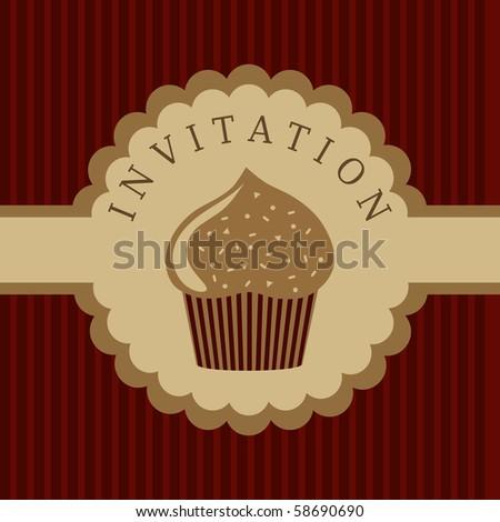 cupcake invitation background - stock vector
