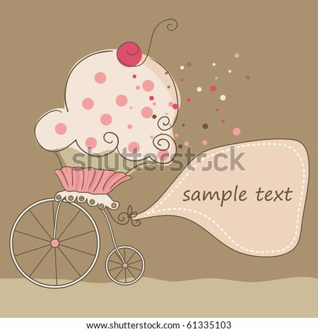 cupcake on bicycle - stock vector