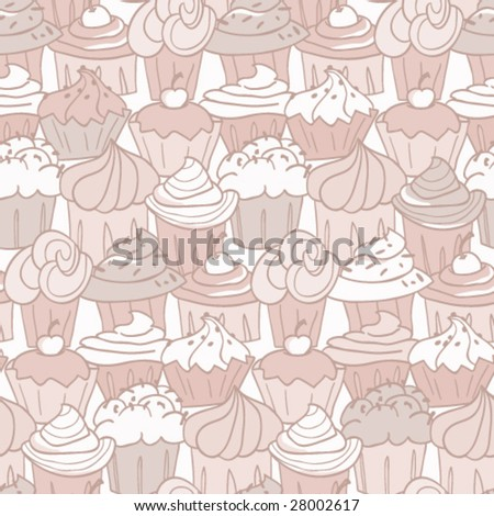Cupcake Pattern - stock vector