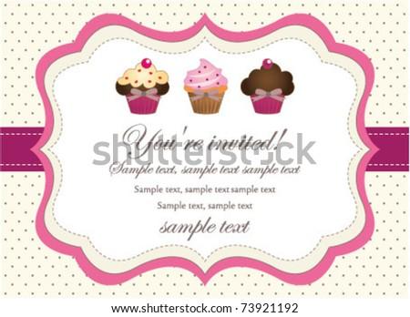 Cupcake retro invitation - stock vector