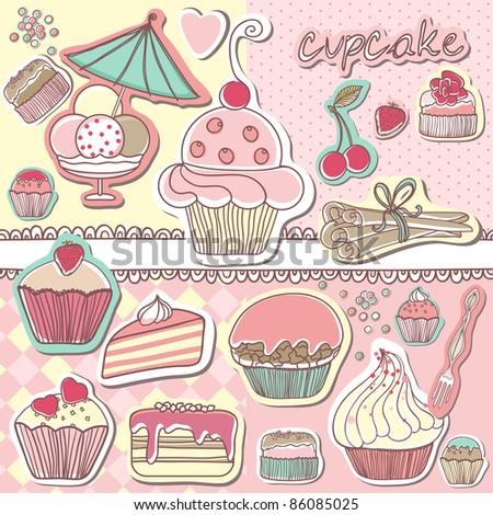 cupcake scrapbook set - stock vector