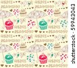 cupcake seamless background - stock vector