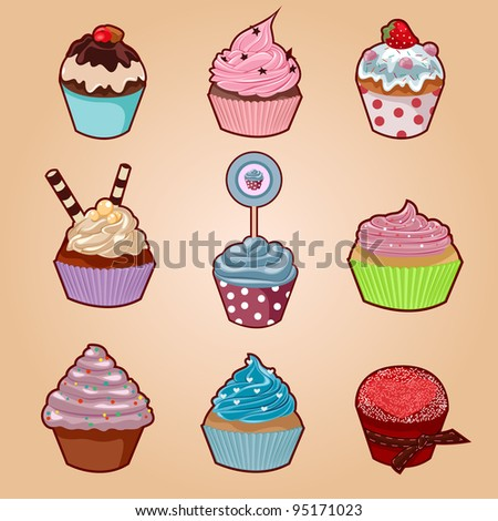 Cupcake set with cute cartoon cupcakes in more styles and colors for any taste. - stock vector