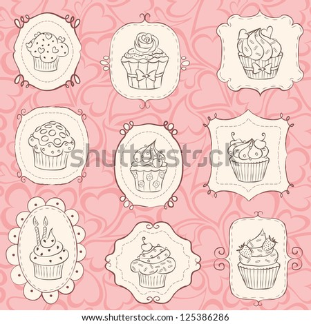 Cupcake set with heart seamless pattern. - stock vector