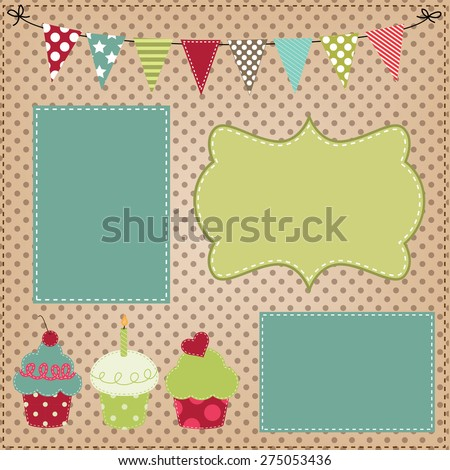 Cupcake template with bunting or flags and photo frames for birthday party or bakery menus - stock vector