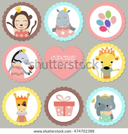 Cupcake Toppers Birthday Collection Animals Dressed Stock Vector
