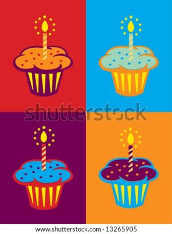 Cupcake vector birthday card - stock vector