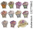 Cupcake Vector Collection very colorful illustration - stock vector