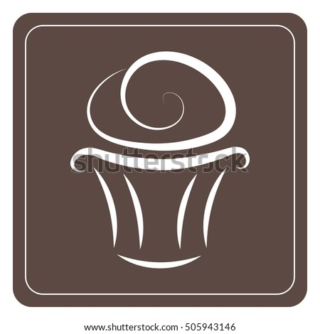 Cupcake vector icon - white on brown background