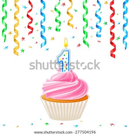 Cupcake with candle and streamer - stock vector
