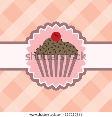 Cupcake with chocolate on table cloth - stock vector