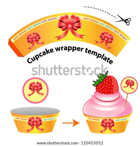 Cupcake wrapper template. Red ribbon pattern on orange background. Vector illustration