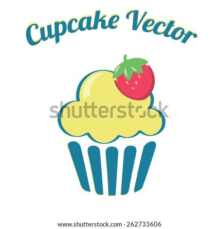 Cupcake yummy turquoise yellow retro bakery logo badges and labels / Vintage retro cupcake logo - stock vector