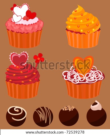 Cupcakes and chocolate Sweets - stock vector