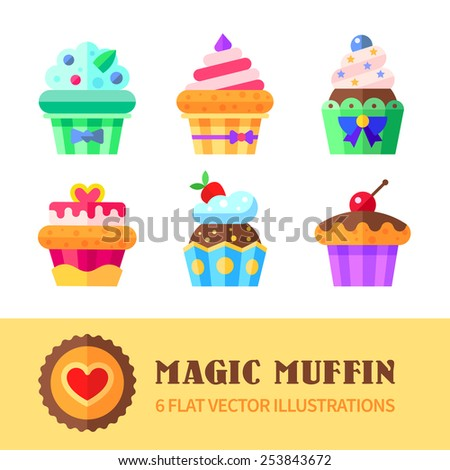 Cupcakes and muffins different flavors and colors. Flat vector illustration. - stock vector