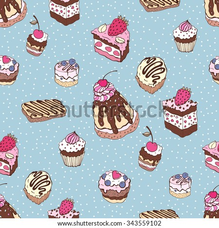 Cupcakes background. Yummy colorful cute background. Hand drawn pattern. Seamless vector illustration.