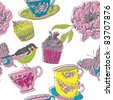 cupcakes bird and peony flower - stock vector