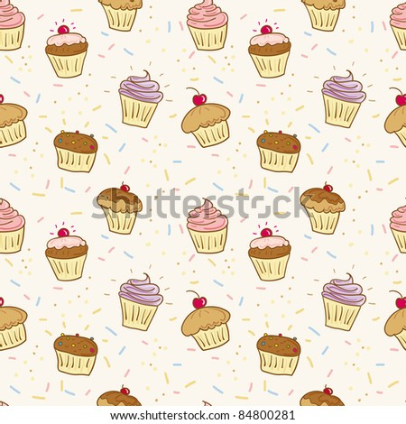 cupcakes seamless pattern - stock vector